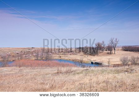 Lake And Prairie At Blue Mounds