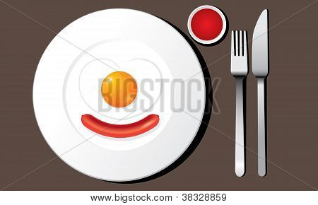 Fried egg and Sausage on a plate with flatware