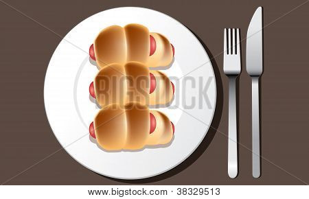 sausage in the dough on a plate vector