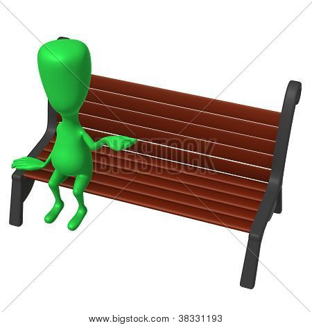 View Green Puppet On Bench Testing Weather