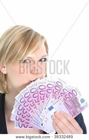 Beautiful Blonde Woman Holding 500 Euro Notes