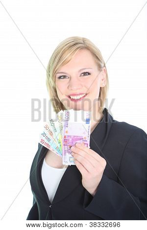 Happy Woman Displaying A Fan Of Euro Notes