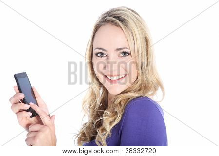 Happy Young Blonde Woman Holding Cell Phone