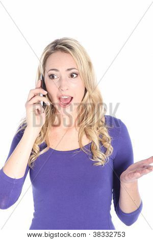 Surprised Young Blonde Woman Talking On Cell Phone
