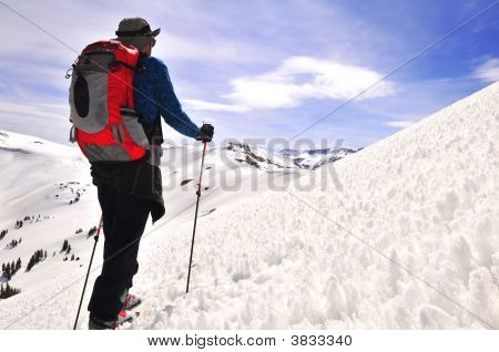 Backcountry Skier And Coral Snow