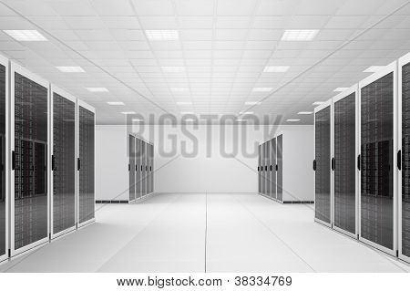 Data Centre With Two Rows Of Racks