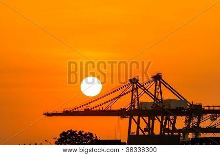 Crane In The Industrial Port