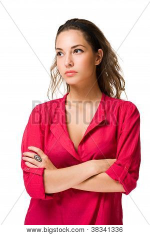 Angry Looking Brunette Woman.