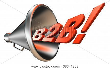 B2B Orange Word In Bullhorn