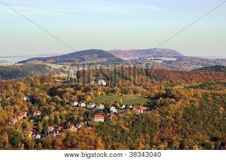Panorama Of Vicinities Of Castle Wartburg, Germany