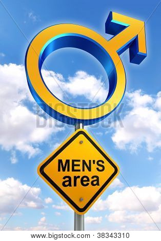 Male Symbol Road Sign With Mens Area Text