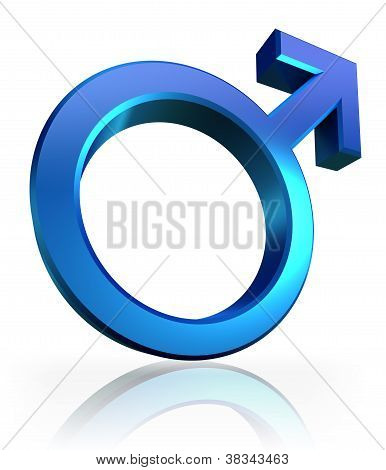 Male Blue Symbol 3D On White Background
