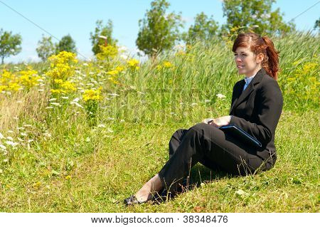Business Lady Resting Outdoor