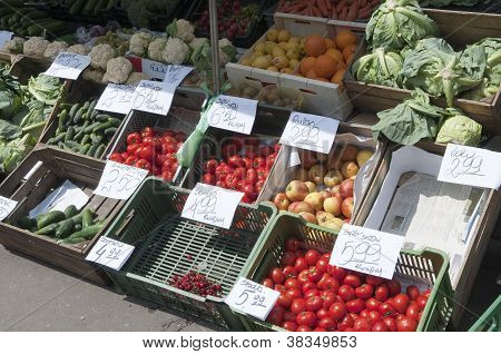Vegetables And Fruit Stall At Farmers Market