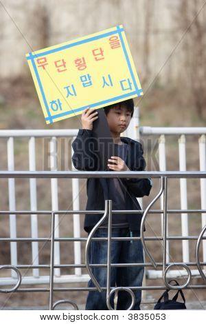 Korean Boy Warns Of Dangers Of Jaywalking.