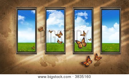 Grungy Dark Room With Windows And Butterflies And Blue Sky
