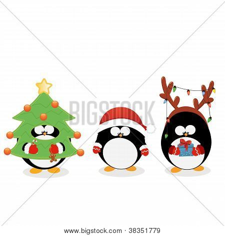 Weihnachts-Pinguin set