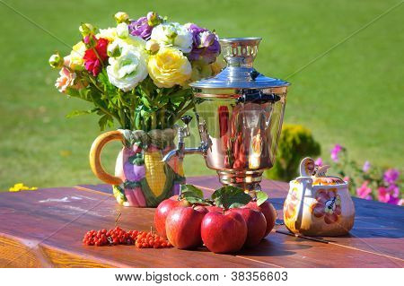 Autumn theme with samovar