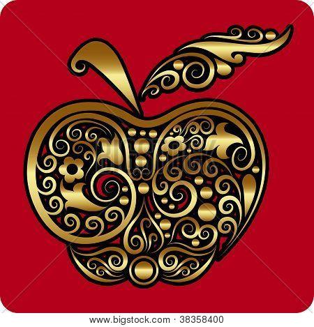 Golden apple ornament