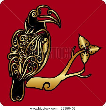 Golden toucan ornament
