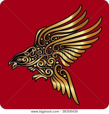 Golden flying bird