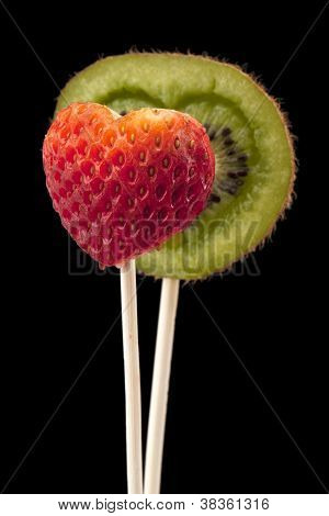 Heart Shaped Kiwi And Strawberry