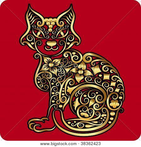 Golden Cat Ornament