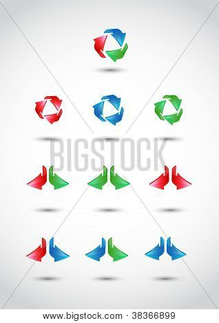 Colorful 3d vector arrows set.EPS 10.Full Vector.
