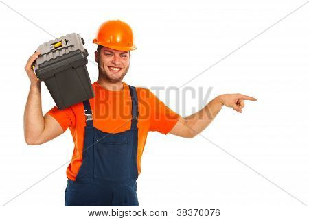 Happy Worker Man Indicate