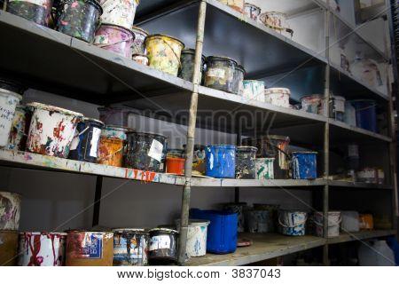 Paint Cans Shelf