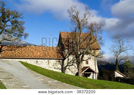 Courtyard of castle in Balzers, Lichtenstein