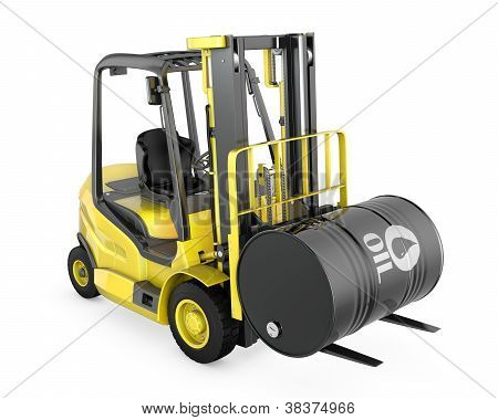 Yellow Fork Lift Lifts Oil Barrel