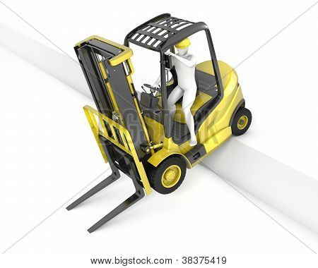 Yellow Fork Lift Truck Stuck After Falling From Ramp