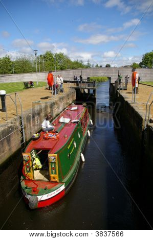 Canal Boat In Lock