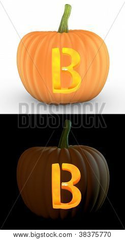 B Letter Carved On Pumpkin Jack Lantern
