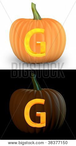 G Letter Carved On Pumpkin Jack Lantern