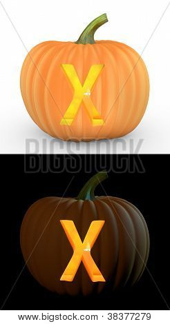 X Letter Carved On Pumpkin Jack Lantern