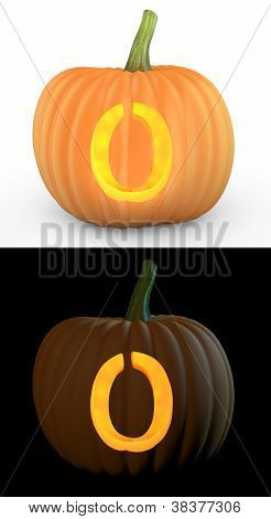 O Letter Carved On Pumpkin Jack Lantern