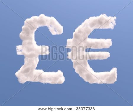 Euro And Pound Symbols Shape Clouds