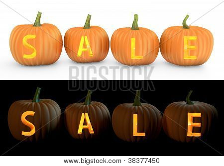 Sale Text Carved On Pumpkin Jack Lantern