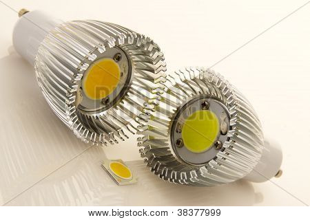Two Led Bulbs Gu10 With Large Flat Chips And Not Assigned Smd Chip