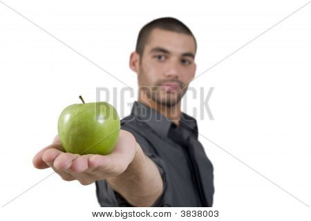 Smart Man Offering Apple