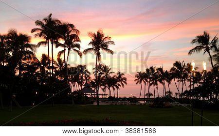 Rainbow sunset in Hawaii