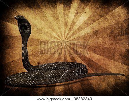 Vibora Cobra sobre fondo Grunge