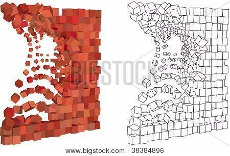 pared explosión 3d abstracto en diferente tono rojo