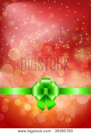 Green Bow On A Shines Red Background