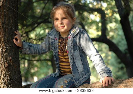 Little Girl Sitting On The Tree