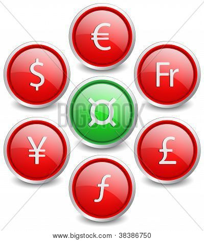 Set of 8 popular buttons - currency