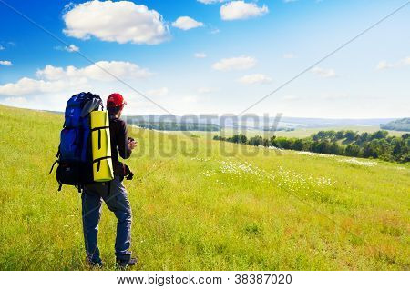 Man Tourist In Mountain.