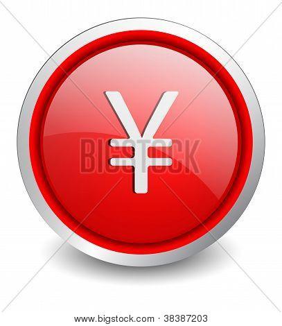 Yen red button - design web icon